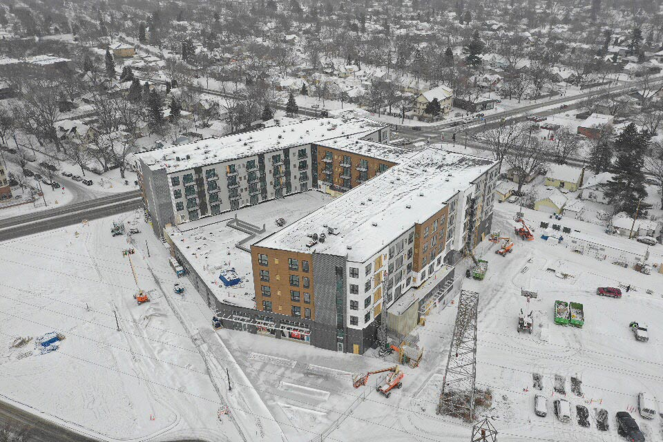 Aerial view of apartment complex