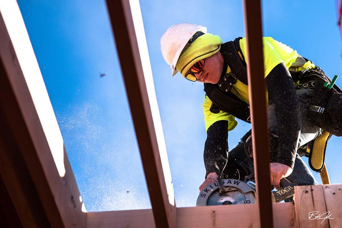 Worker Using Skill Saw